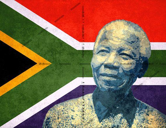 Nelson Mandela fine art poster | Resistencia | Africa flag ...