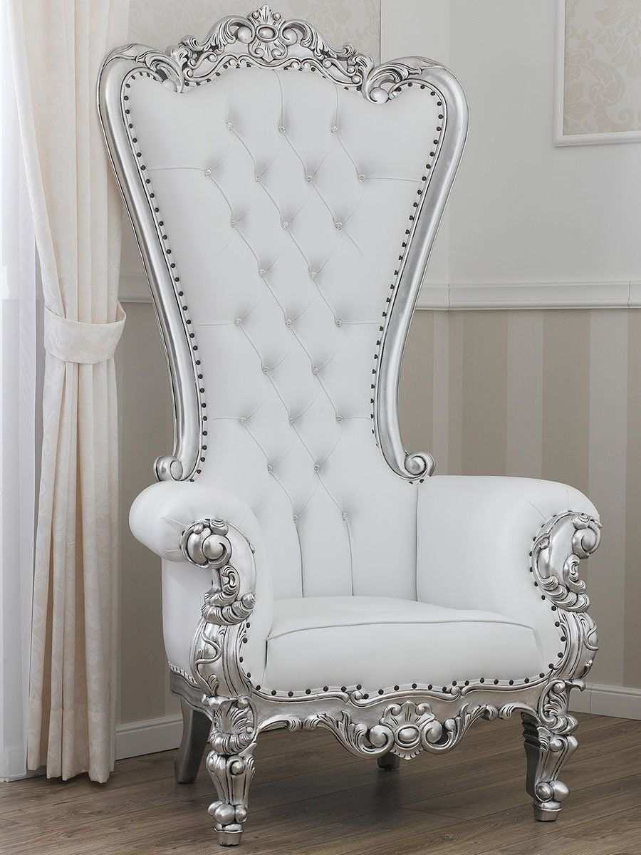 Fauteuil Trone Style Baroque Moderne Feuille Argent Simili Cuir Blanche Boutons Swarovski Amazon Fr Cuisi Sofa Bed Design Royal Furniture Furniture Appliques
