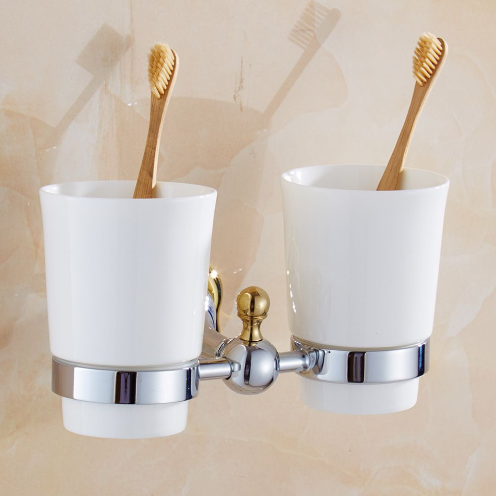 Simple Flower Design Cup-toothbrush-holder Modern Double Tumbler ...