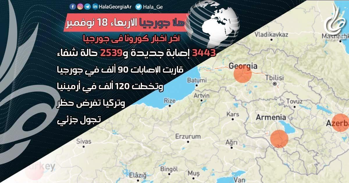 اخر اخبار كورونا في جورجيا الآن 18 نوفمبر الإصابات تلامس 90 ألف وتتجاوز 120 ألف في أرمينيا وتركيا تفرض حظر التجوال Rize Batumi Armenia