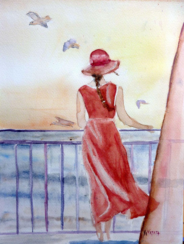 aquarelle une femme attend sur le balcon peintures par yokozaza quel talent. Black Bedroom Furniture Sets. Home Design Ideas