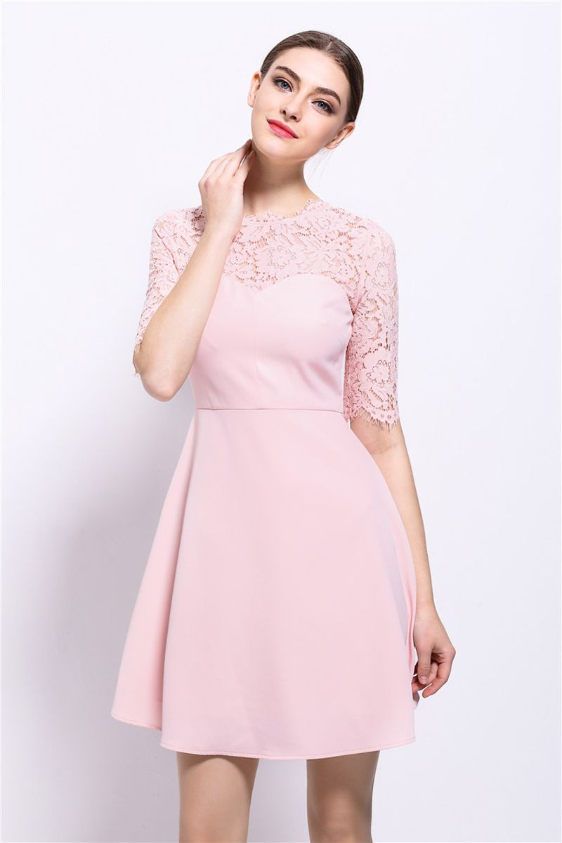 2017 summer dress half sleeve women mini office dress plus size pink lace dresses party dresses black