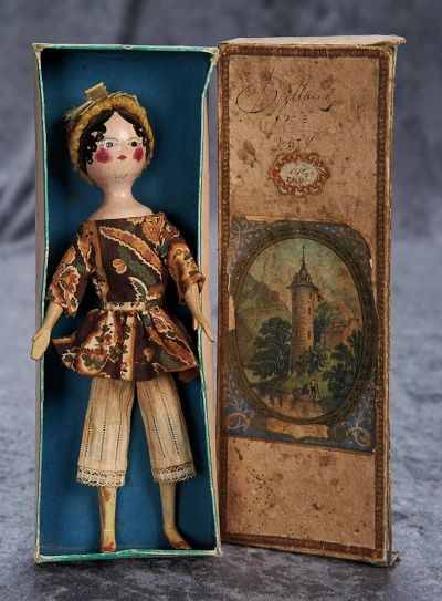 """Among Friends, The Billie and Paige Welker Collection"": 77 Rare Early Wooden Doll, Directoire Era, with Unique Kid Body, Original Box"