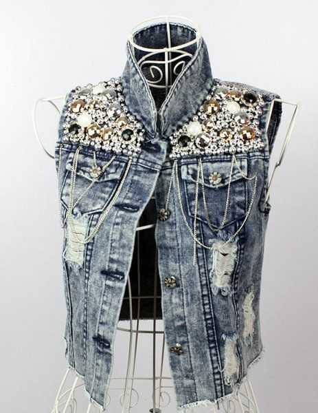 1a5d7da73d0 Pearls & Chains Denim Vest | Trashie Denim | Studded jeans, Denim ...
