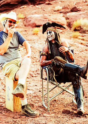 Behind the scenes of The Lone Ranger. Johnny movie