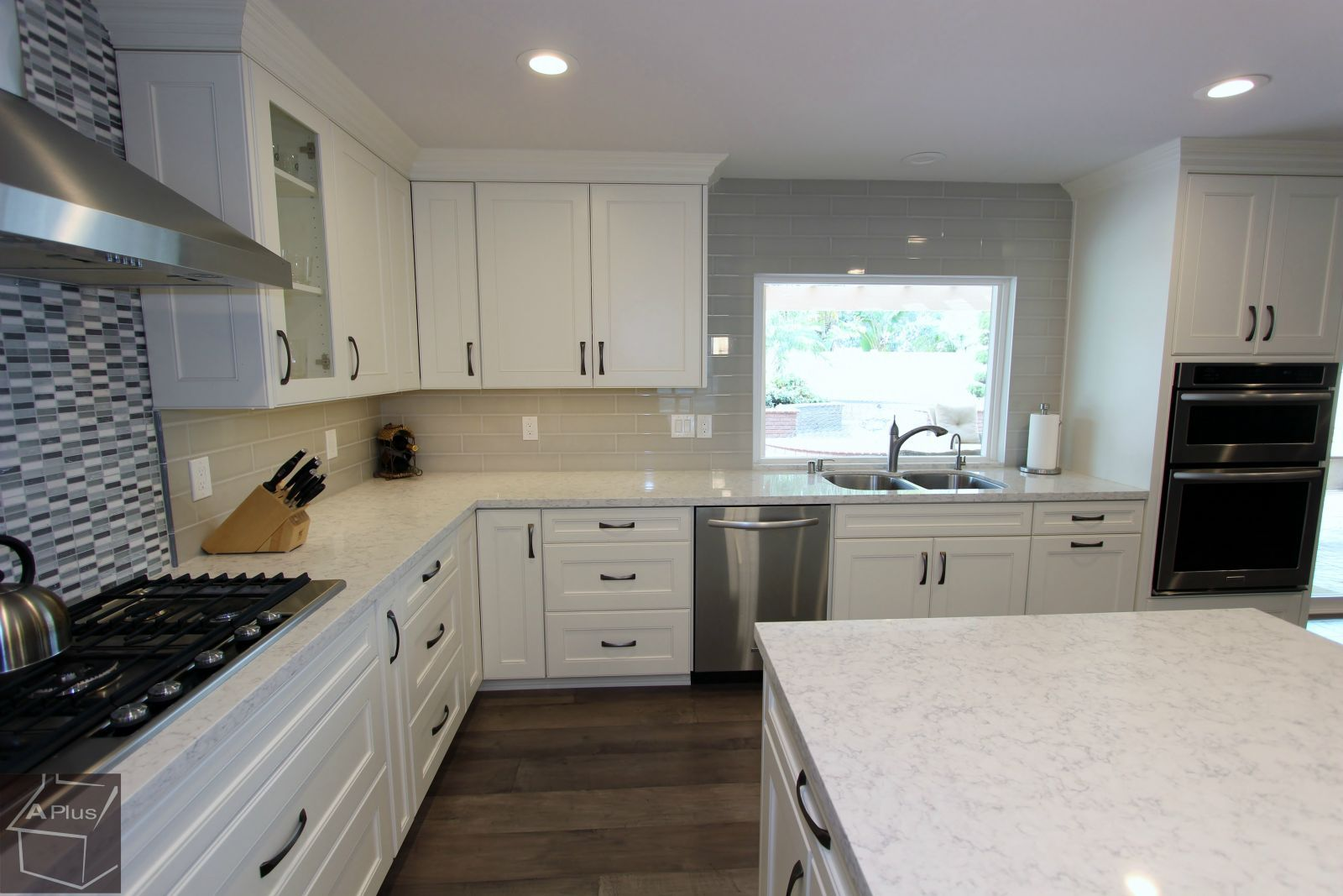 transitional kitchen & home remodel with custom white #cabinets in