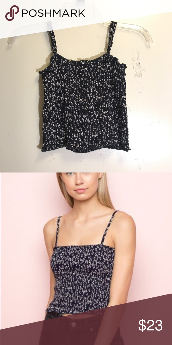 9e90be070d6679 NWOT brandy melville navy blue floral ally tank new with plastic tab (no  tags)   smocked Brandy Melville Tops Tank Tops