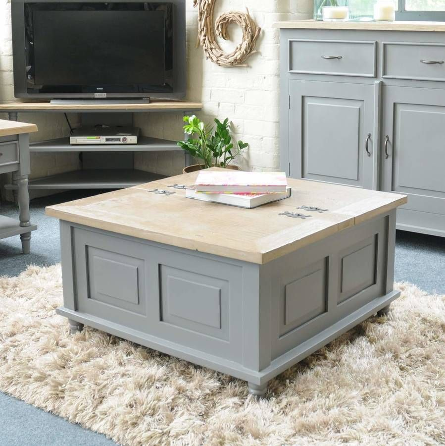 Espresso Coffee Table With Storage: Storage Trunk Coffee Table Grey Or Antique White In 2019
