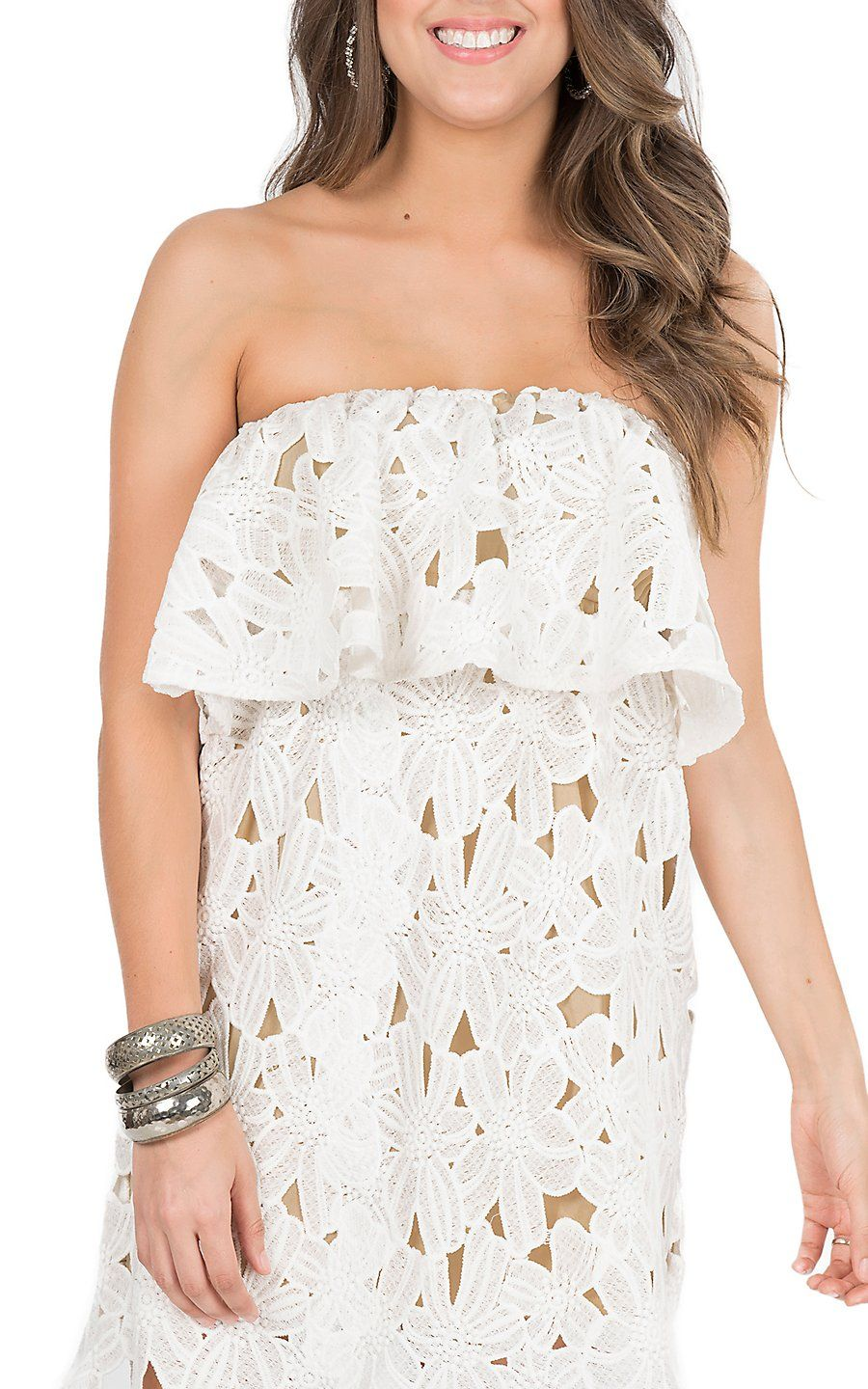 Judith March Women S Beige With White Lace Strapless Dress Strapless White Lace Dress Cowgirl Dresses Country Western Dresses [ 1440 x 900 Pixel ]