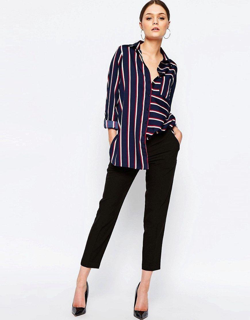 ba3f28fc246e852 Рубашка в полоску женская (130 фото): длинная, голубая, красная, в  вертикальную полоску, с чем носить женскую полосатую рубашку