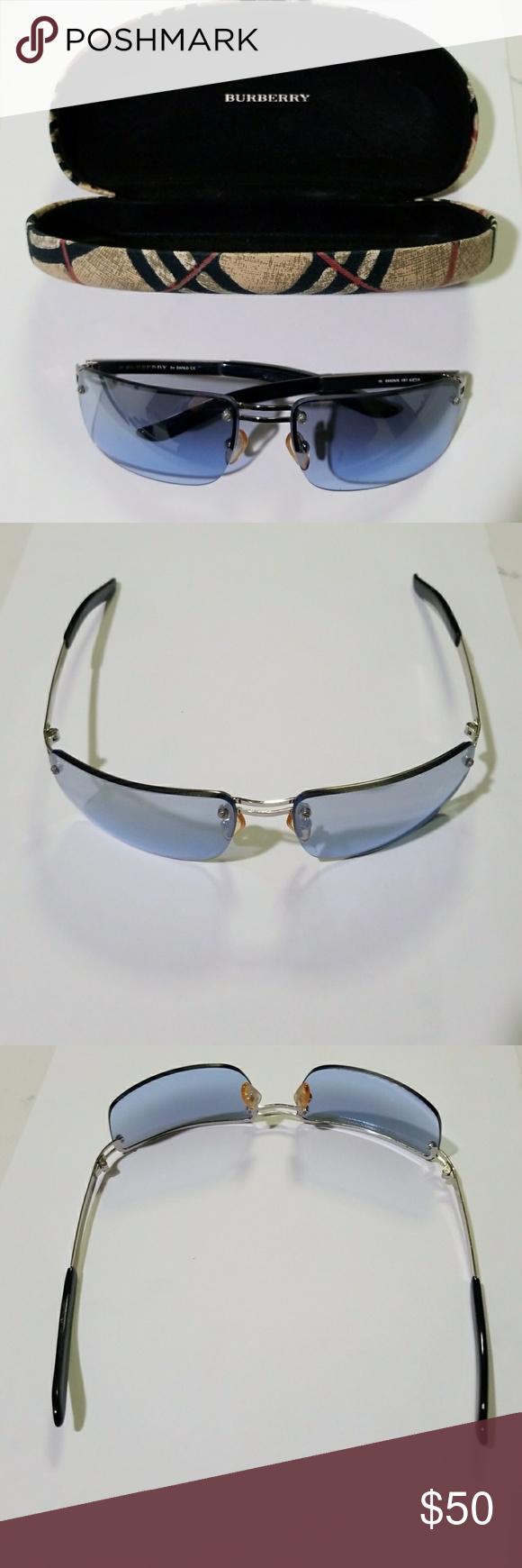 1d90be41286a Authentic Burberry Safilo Sunglasses Authentic Burberry rimless sunglasses.  Blue lens, silver frames. Slight wear on the lens.