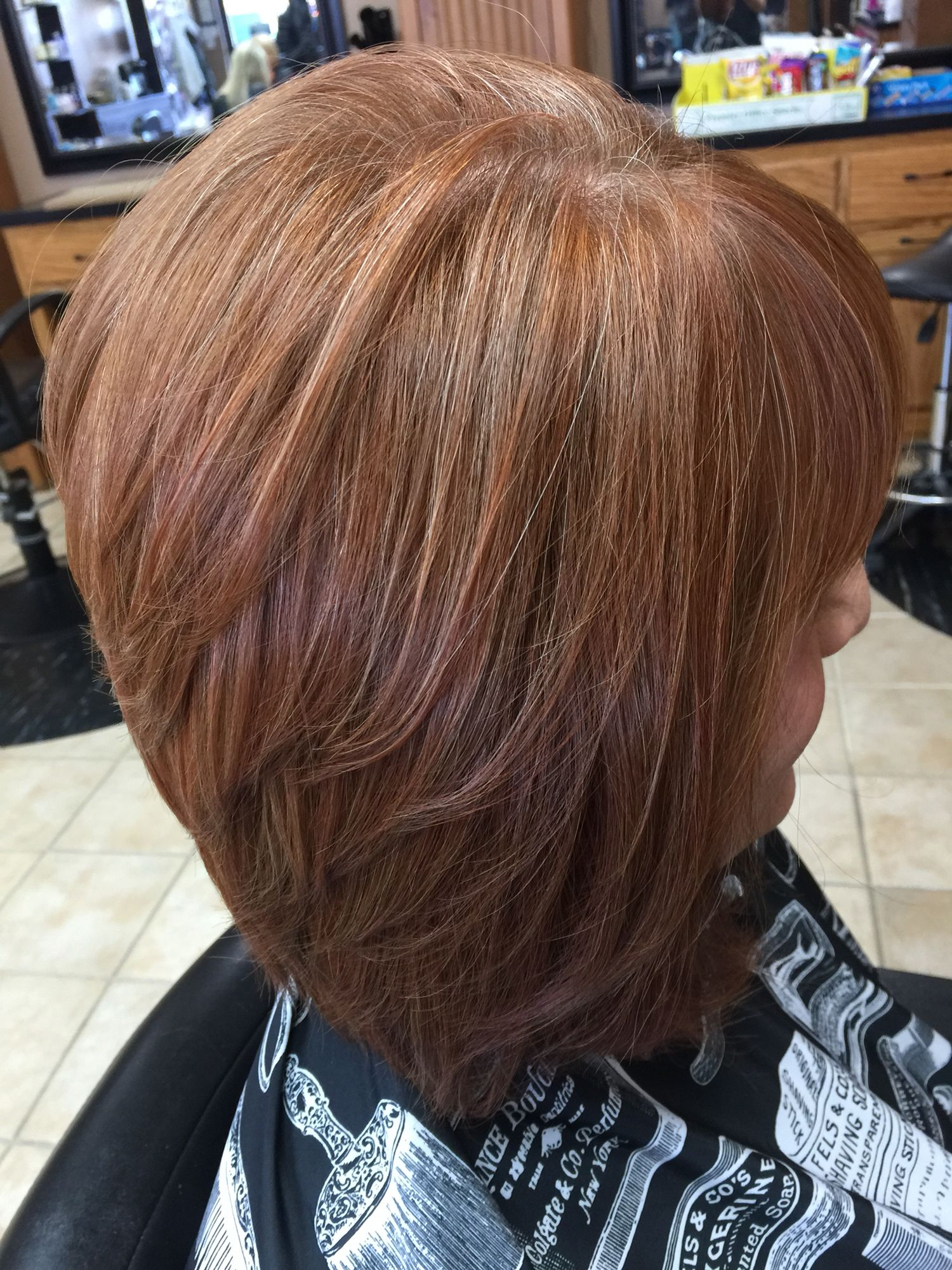 Natural Red Hair Grey Blending With Copper Highlights And Gold Tones Angled Bob