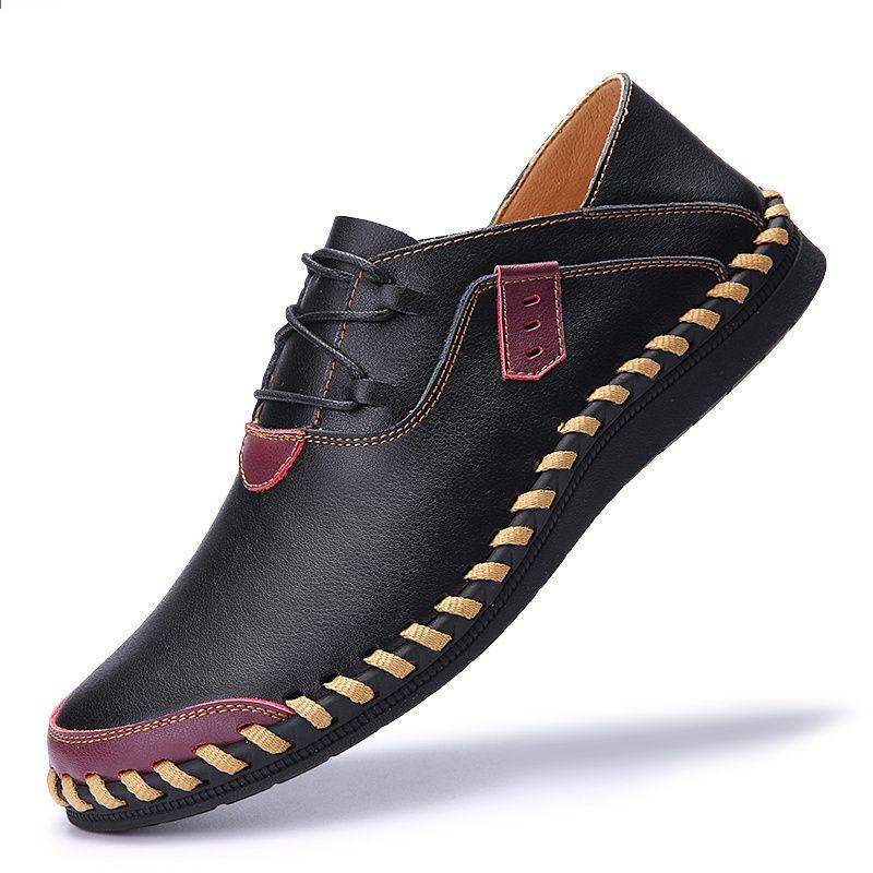 Akz 2018 Letnie Meskie Obuwie Nowej Mody Skorzane Z Mikrofibry Meskie Meskie Mieszkania Buty Lekkie W Oxford Shoes Black Leather Business Shoes Dress Shoes Men