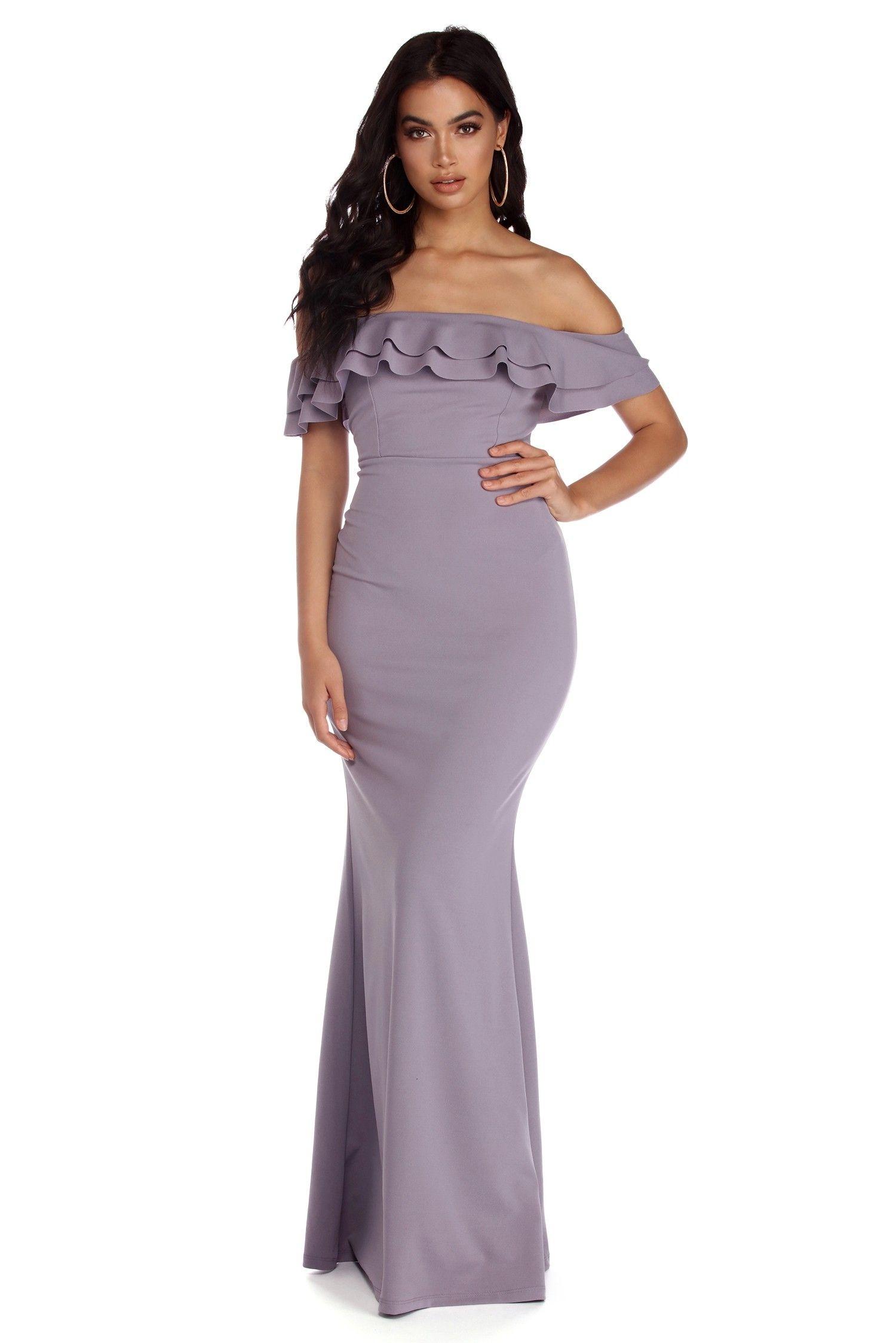 Roxanne double ruffle formal dress prom dresses pinterest