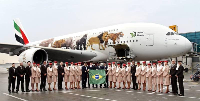 Chega em GRU o primeiro voo regular do Airbus A380 no Brasil. - AEROIN