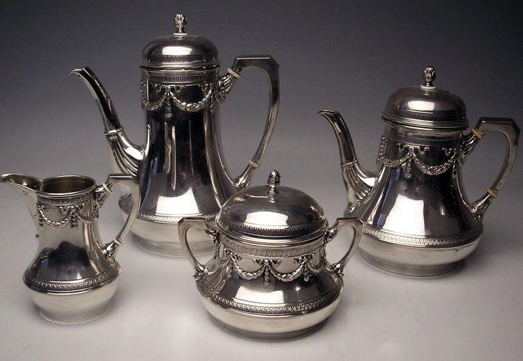 SILBER 4TEILIG JUGENDSTIL KAFFEE TEE MILCH ZUCKER KANNE SILVER 1782 GR.  UM 1900
