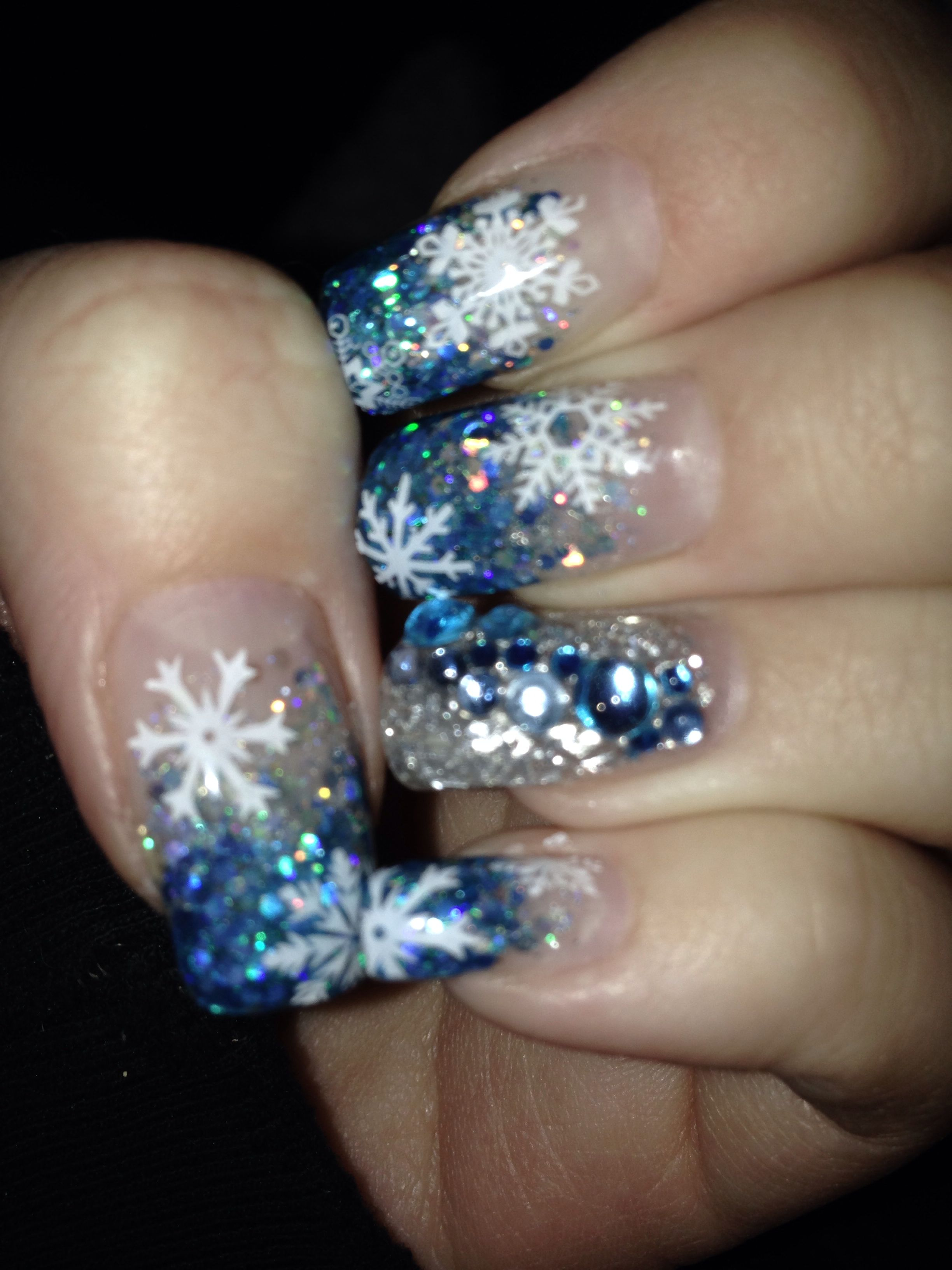 Blue And Silver Winter Gel Nails With Blue Gems Blue Christmas Nails Holiday Nails Christmas Nails