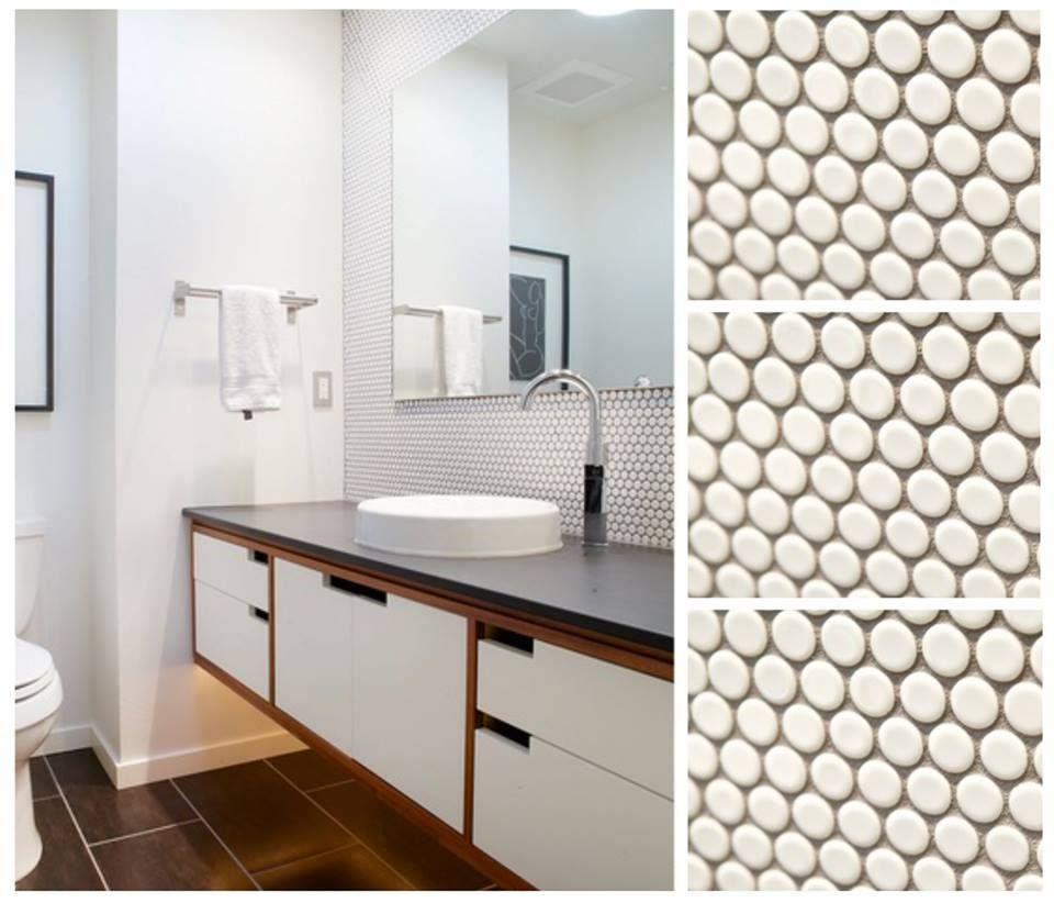 moddotz marshmallow white porcelain penny round tile used to