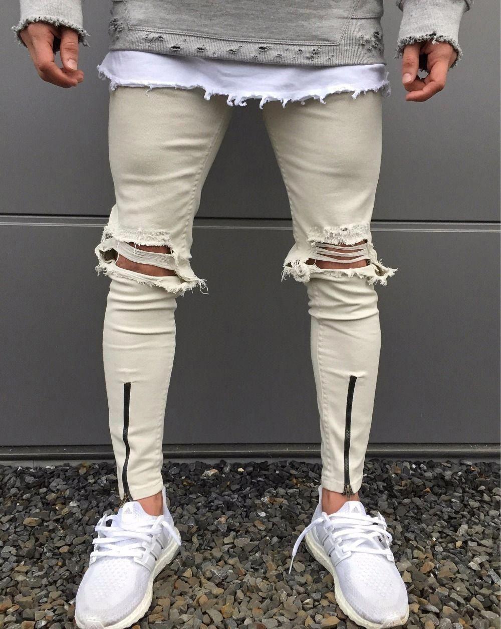 dcf3a3d6690ba 2017 Newest Fashion Tie-Dye Hole Destroyed Mens Hip Hop Denim Straight  Biker Skinny Jeans