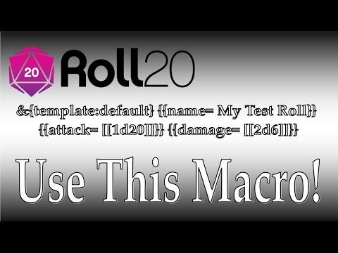 Roll20 Use this Macro! YouTube (With images