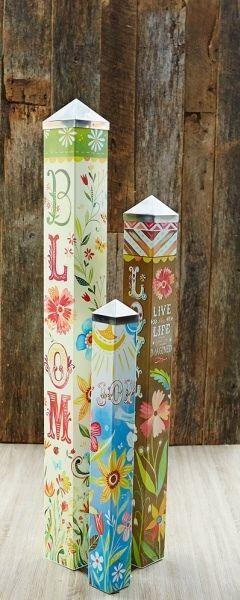 Life is Beautiful Art Pole Garden Set of 3 Peace Poles Katie Daisy