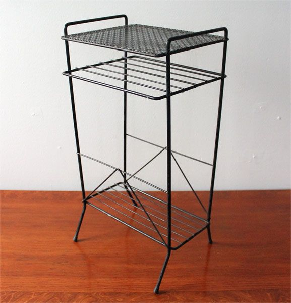 MID CENTURY MODERN BLACK LACED / PERFORATED METAL SIDE END
