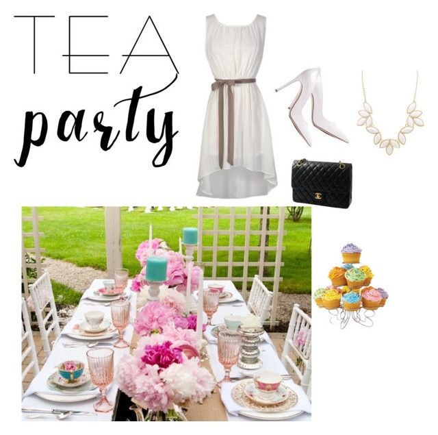 """""""Tea Party"""" by thuaaadorable ❤ liked on Polyvore featuring interior, interiors, interior design, home, home decor, interior decorating, Gianvito Rossi, Chanel, Charlotte Russe and teaparty"""