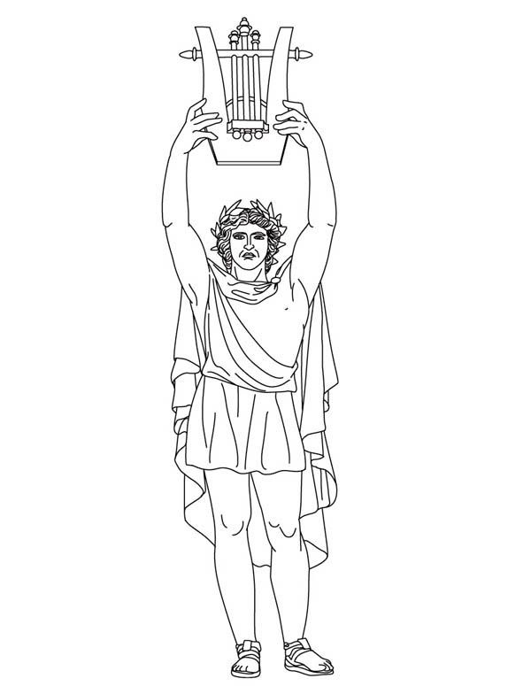 ancient greek art sculpture coloring pages | Apollo from Greek Gods and Goddesses Coloring Page ...