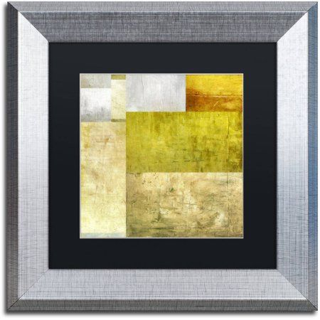 Trademark Fine Art Neutral Study 1.0 inch Canvas Art by Michelle Calkins, Black Matte, Silver Frame, Size: 11 x 11, Green