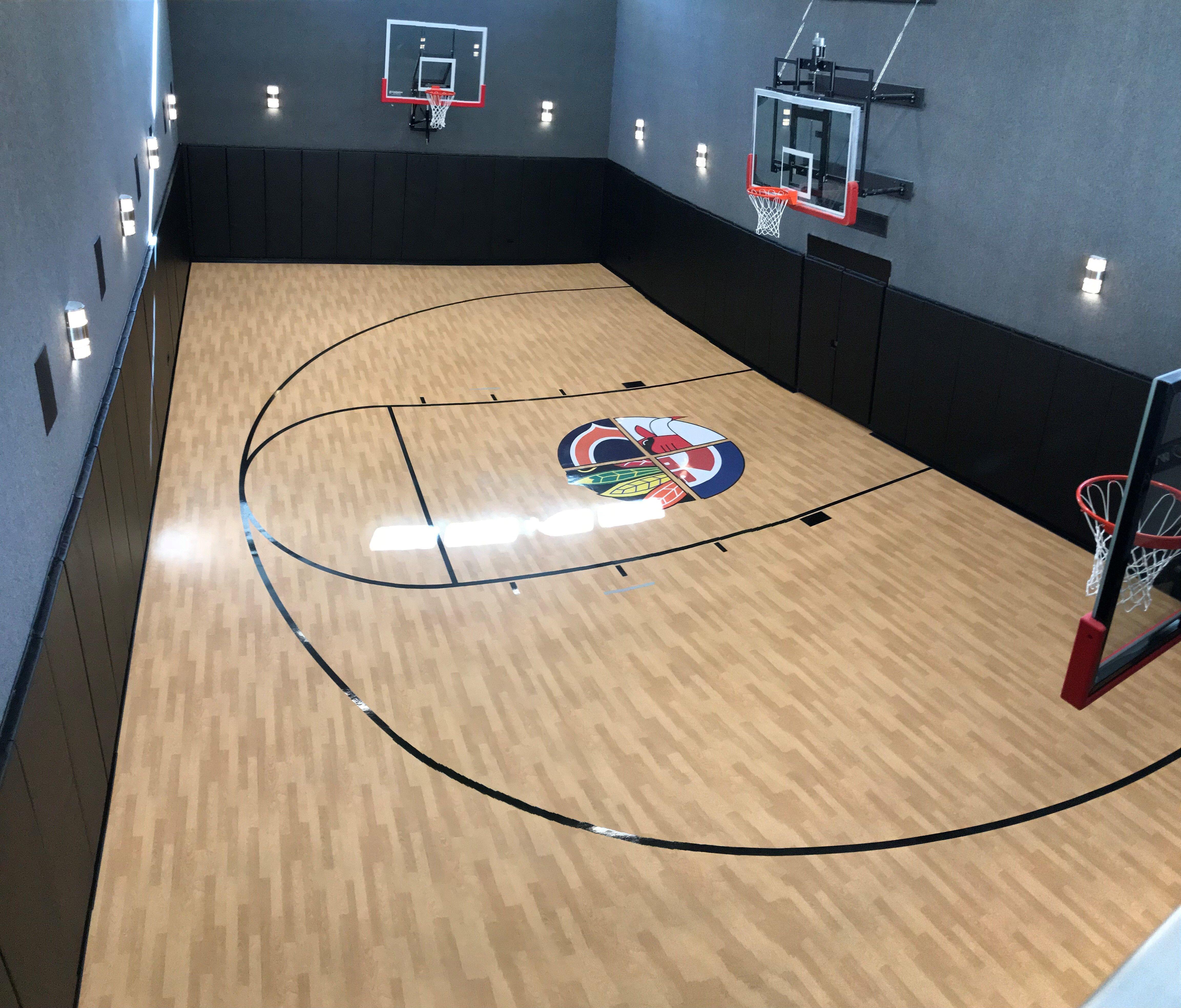 Chicago Logos Indoor Home Gym Indoor Basketball Court Barn Floor Plans Home Basketball Court Basketball Room Indoor Basketball Court