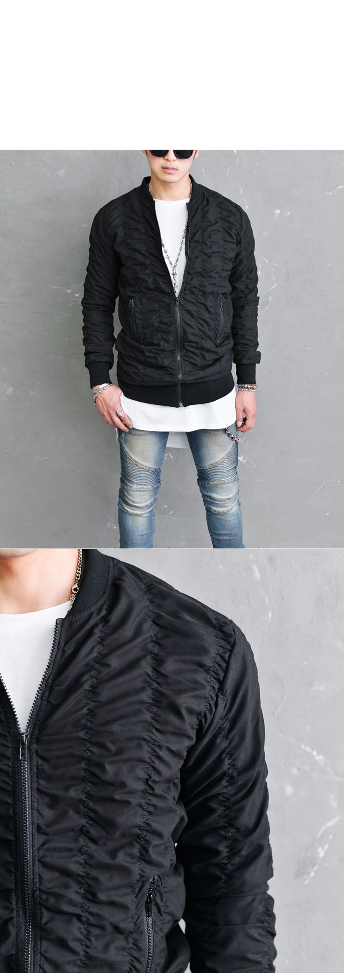 Outerwear :: Extended Length Slim Shirrring Bomber-Jacket 165 - Mens Fashion Clothing For An Attractive Guy Look