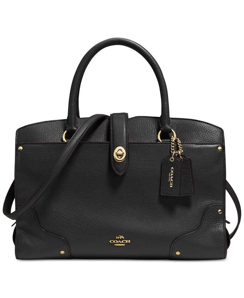 NEW COACH Mercer Satchel 30 in Soft Grain Leather in Light Gold Black    37575  Coach  Satchel b43eb3cac6ba3