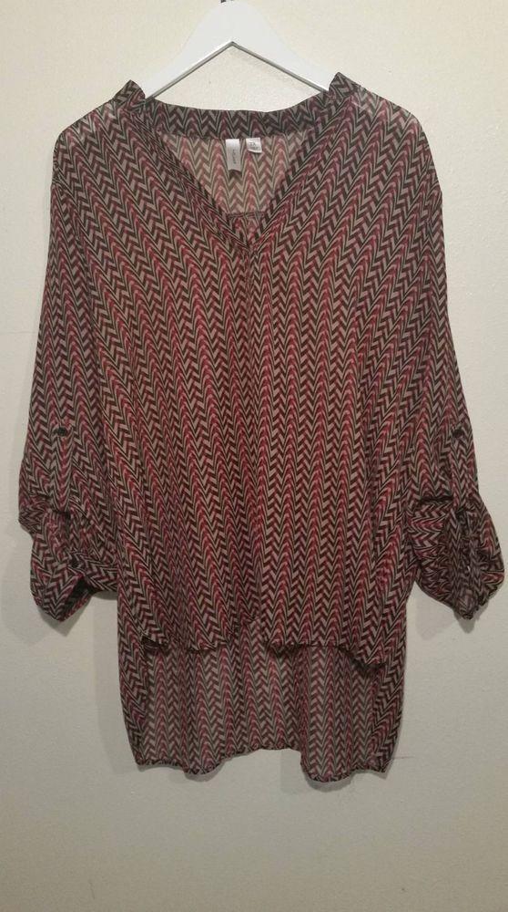 02ccfdae8a593c Tacera 2X Convertible Sleeve Black Red Womens Shirt Long Back V Neck #Tacera  #ButtonDownShirt