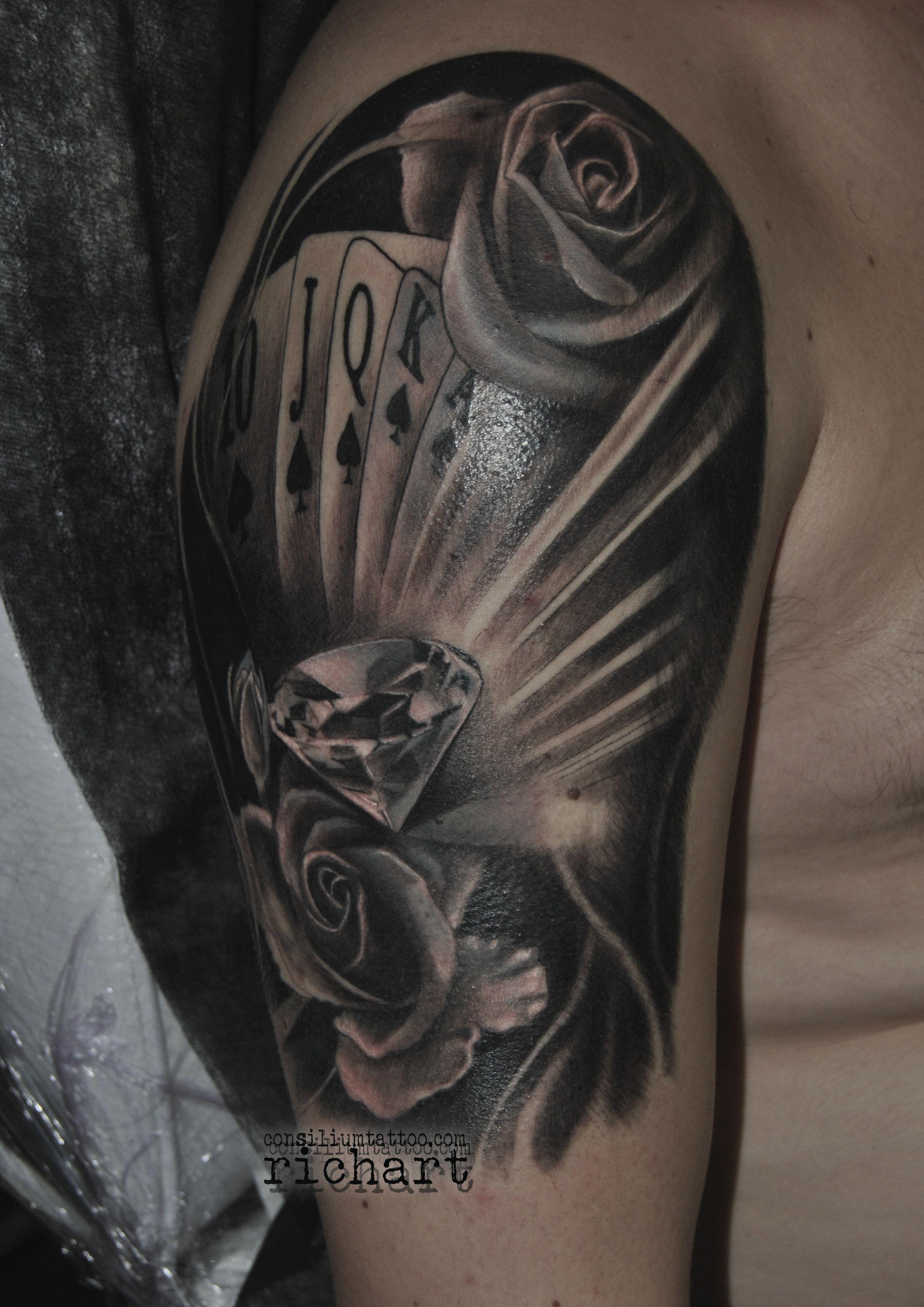 Tatuaje Tatuajes Tattoo Diamante Cartas De Poker Y Rosas Para El