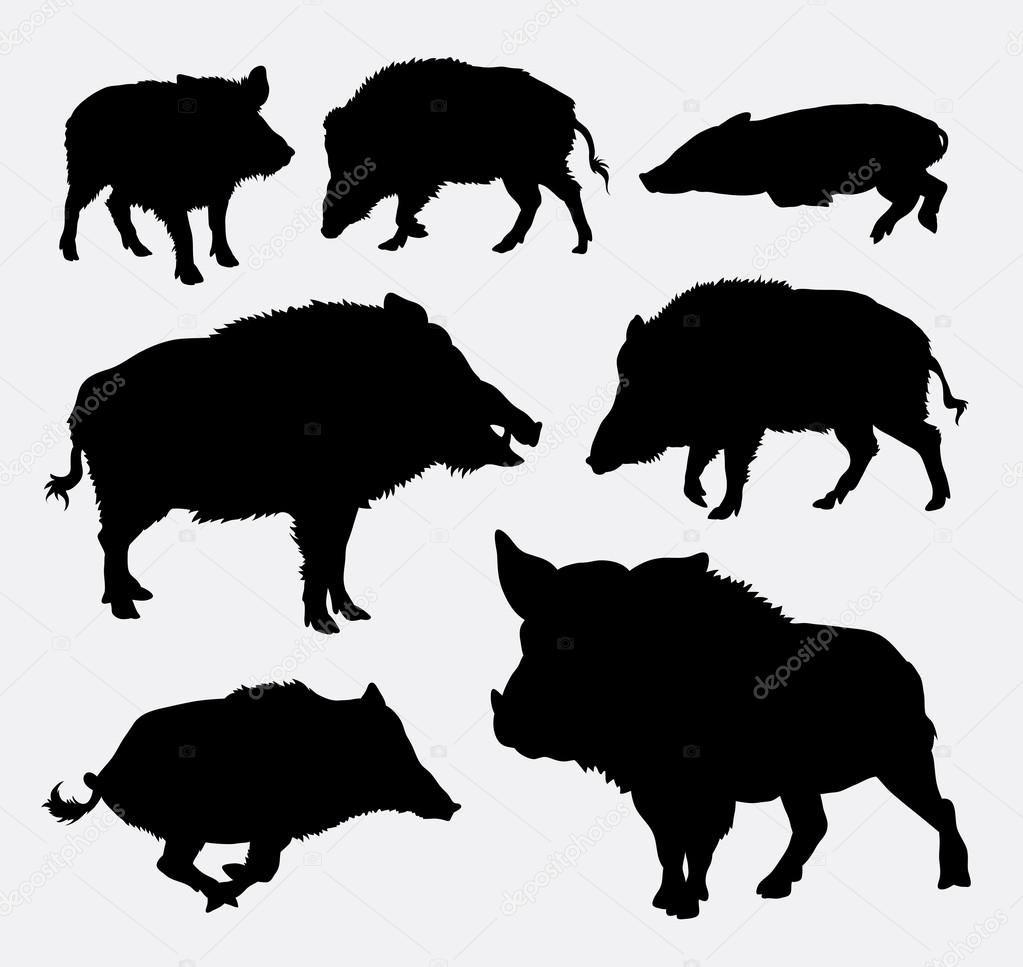 wildschwein silhouetten — stockillustration 82993298