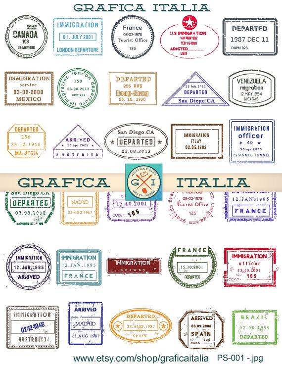 30 International Passport Stamps Digital Printable Collage Sheet