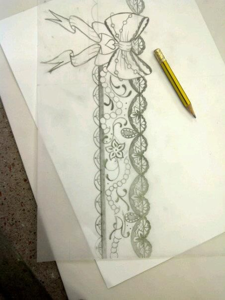 Hand Drawn Garter Lace Garter Tattoos Garter Tattoo Lace Tattoo