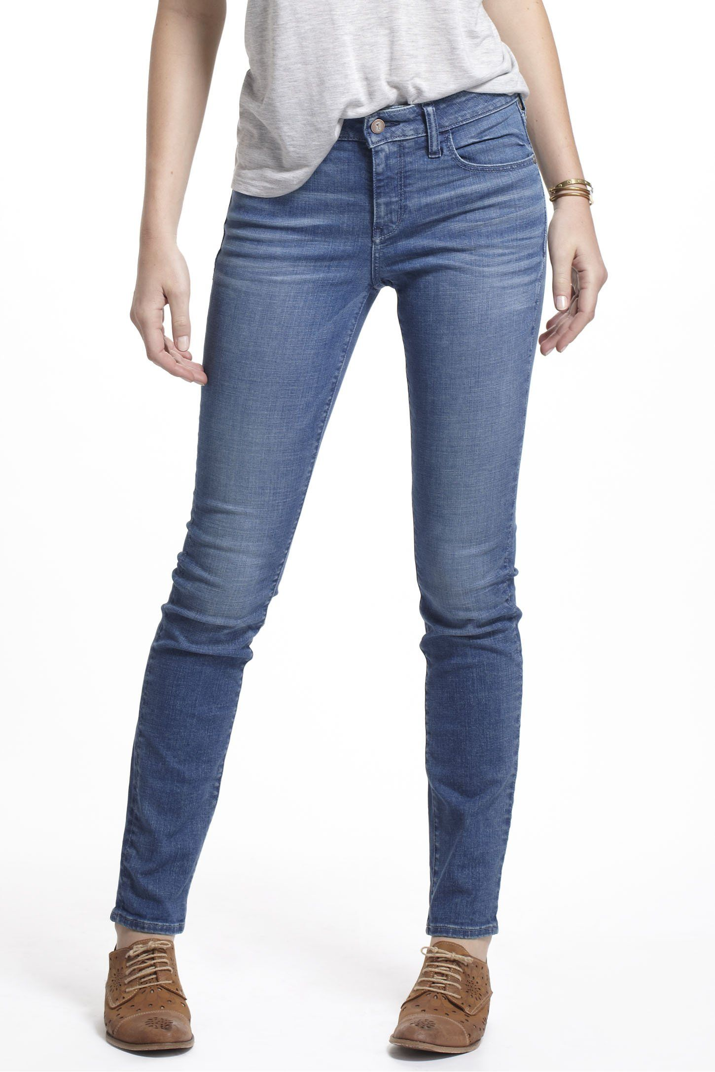"""- Five-pocket styling - Cotton, spandex - Machine wash - 31.5""""L - 8.75"""" rise; 6"""" ankle - Imported"""