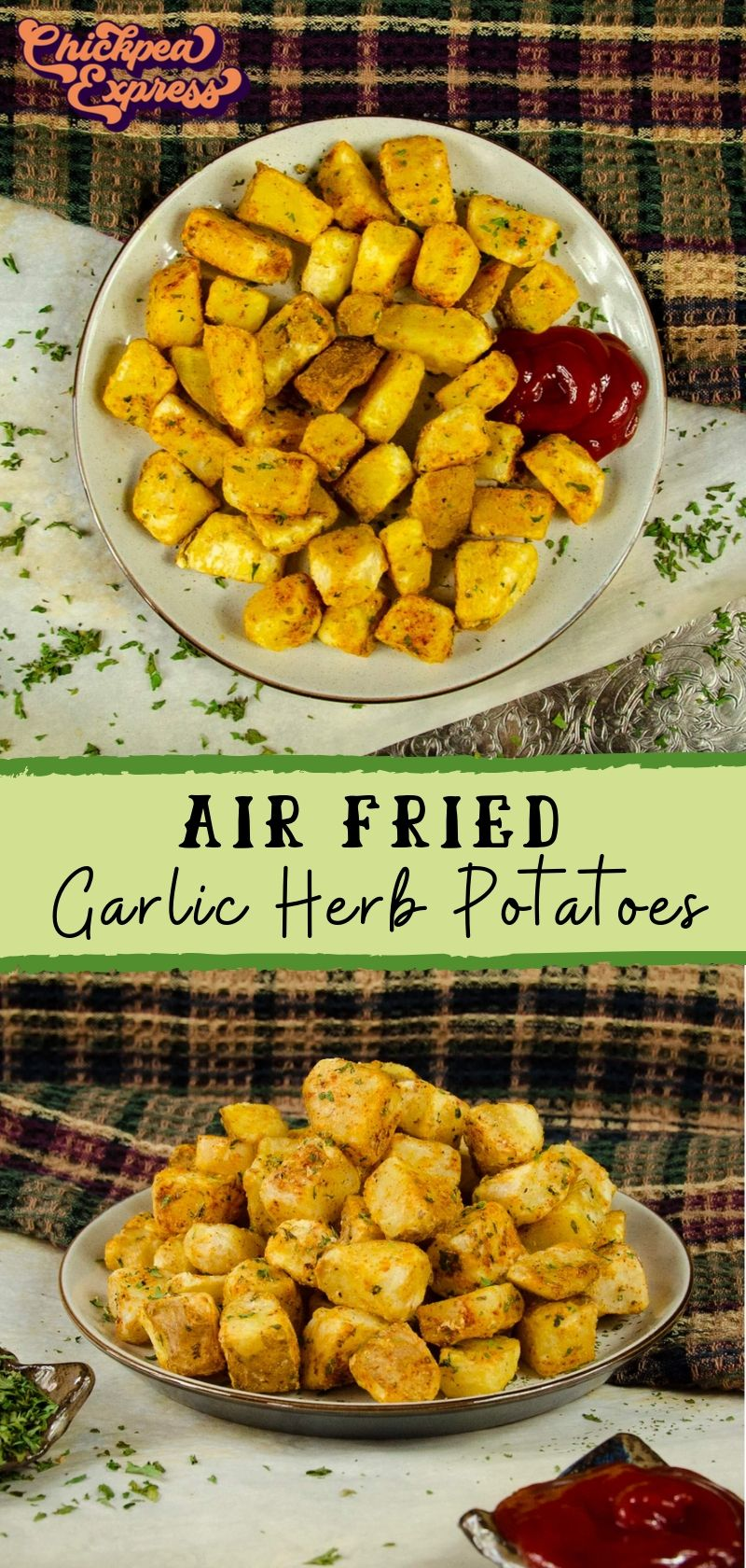 Garlic and Herb Air Fryer Potatoes Recipe Vegan potato