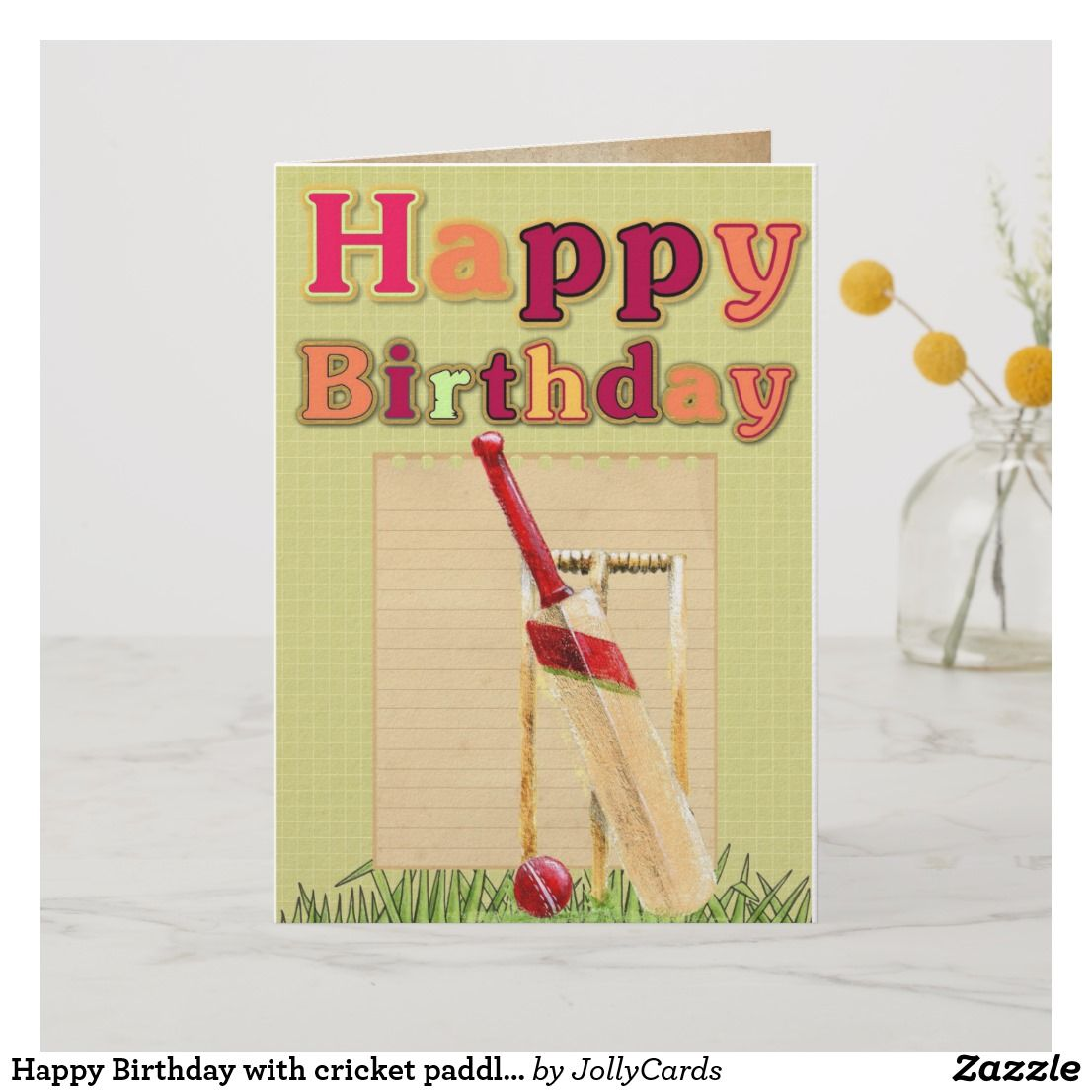 Happy Birthday With Cricket Paddle And Ball Card Zazzle Com In 2020 Happy Birthday Cards Happy Birthday Vintage Happy Birthday