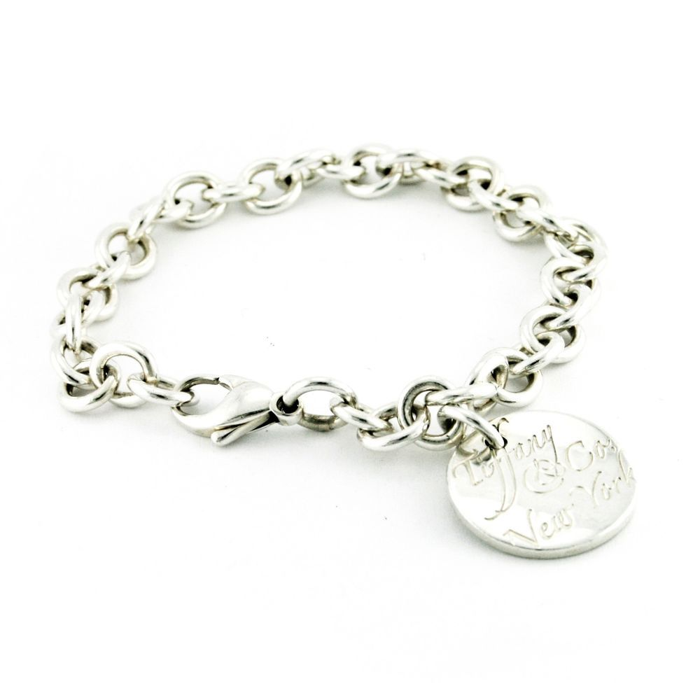 Tiffany & Co. Circle Notes New York Round Tag Charm Bracelet 925 Sterling  Silver #
