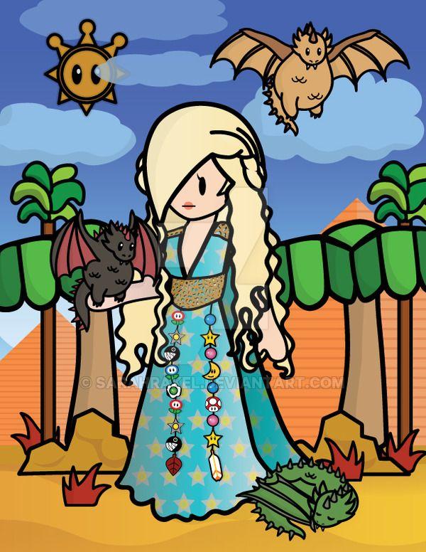 Rosalina as Daenerys Targaryen, Paper Mario Style by SarahRakel.deviantart.com on @DeviantArt