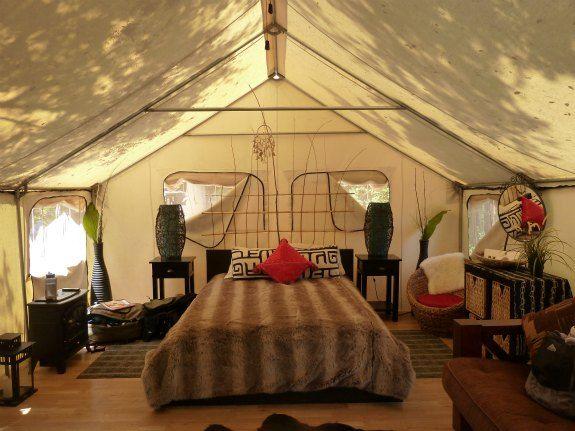 Interior Glamour Tent At Ventura Ranch Koa Campground
