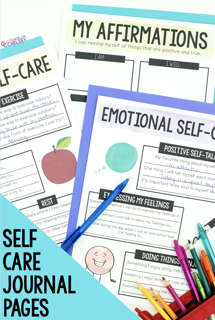 Self Care Journal Pages Bundle Digital And Pdf Versions Counselor Chelsey Simple School Counseling Ideas Coping Skills Activities School Counseling School Counseling Activities
