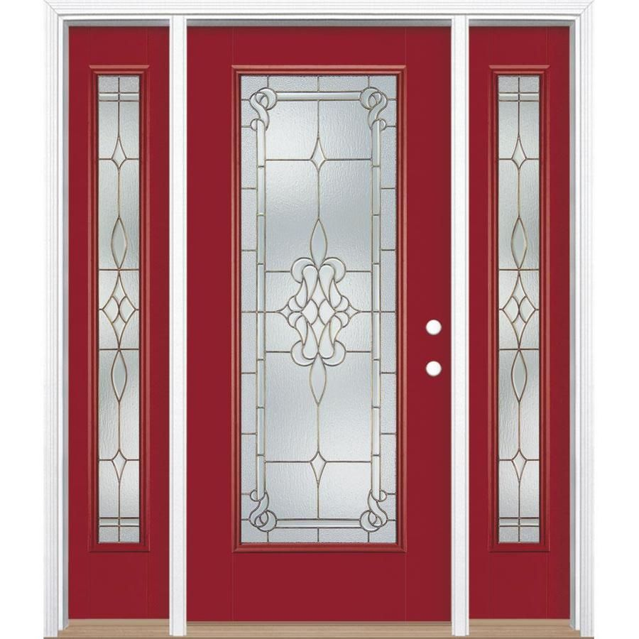 Masonite Stately Full Lite Decorative Glass Left Hand Inswing Roma Red Painted Fiberglass Prehung Entry Door Wi In