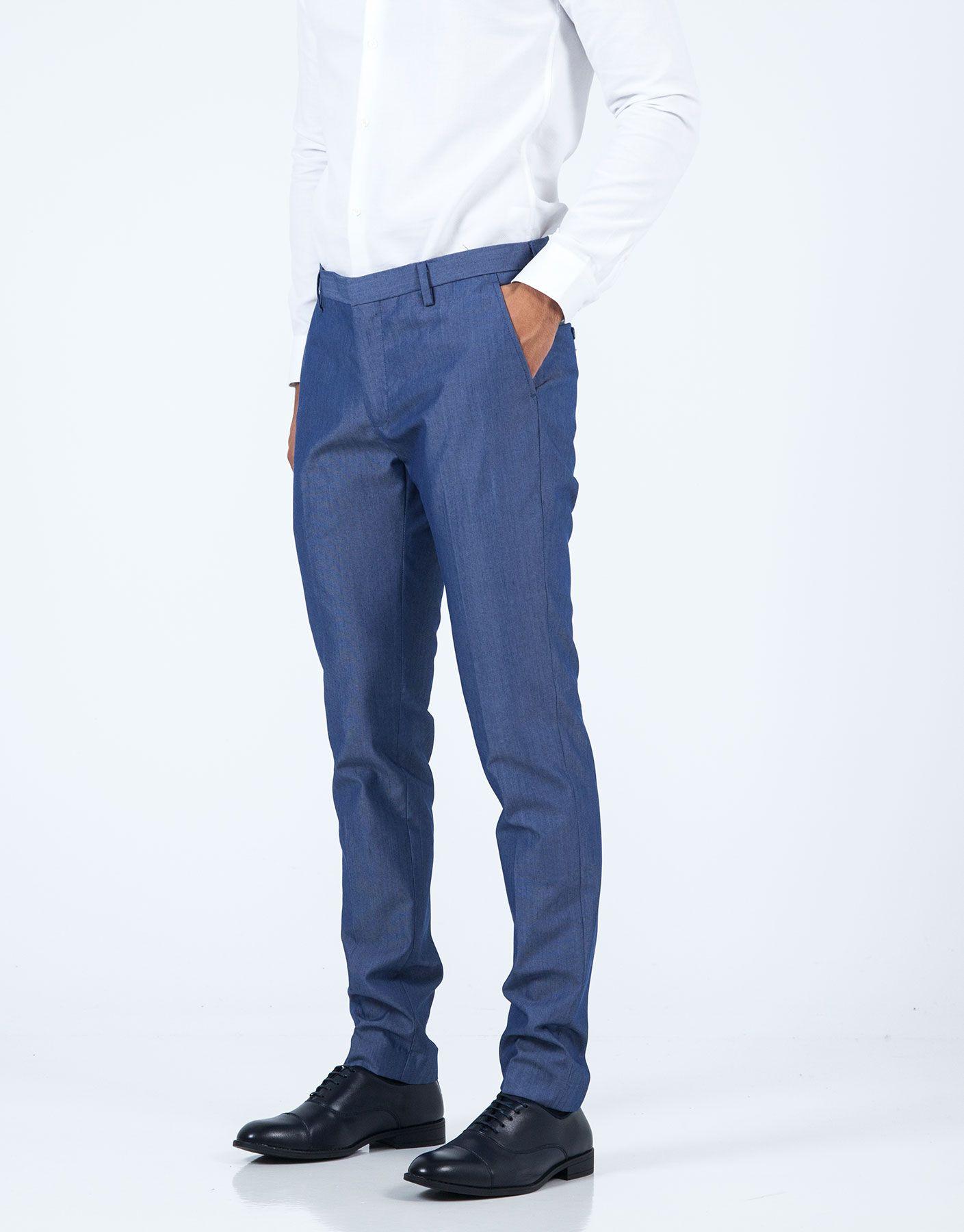Pantalón traje estructura azul JVZ. | Trajes JVZ FW19 en