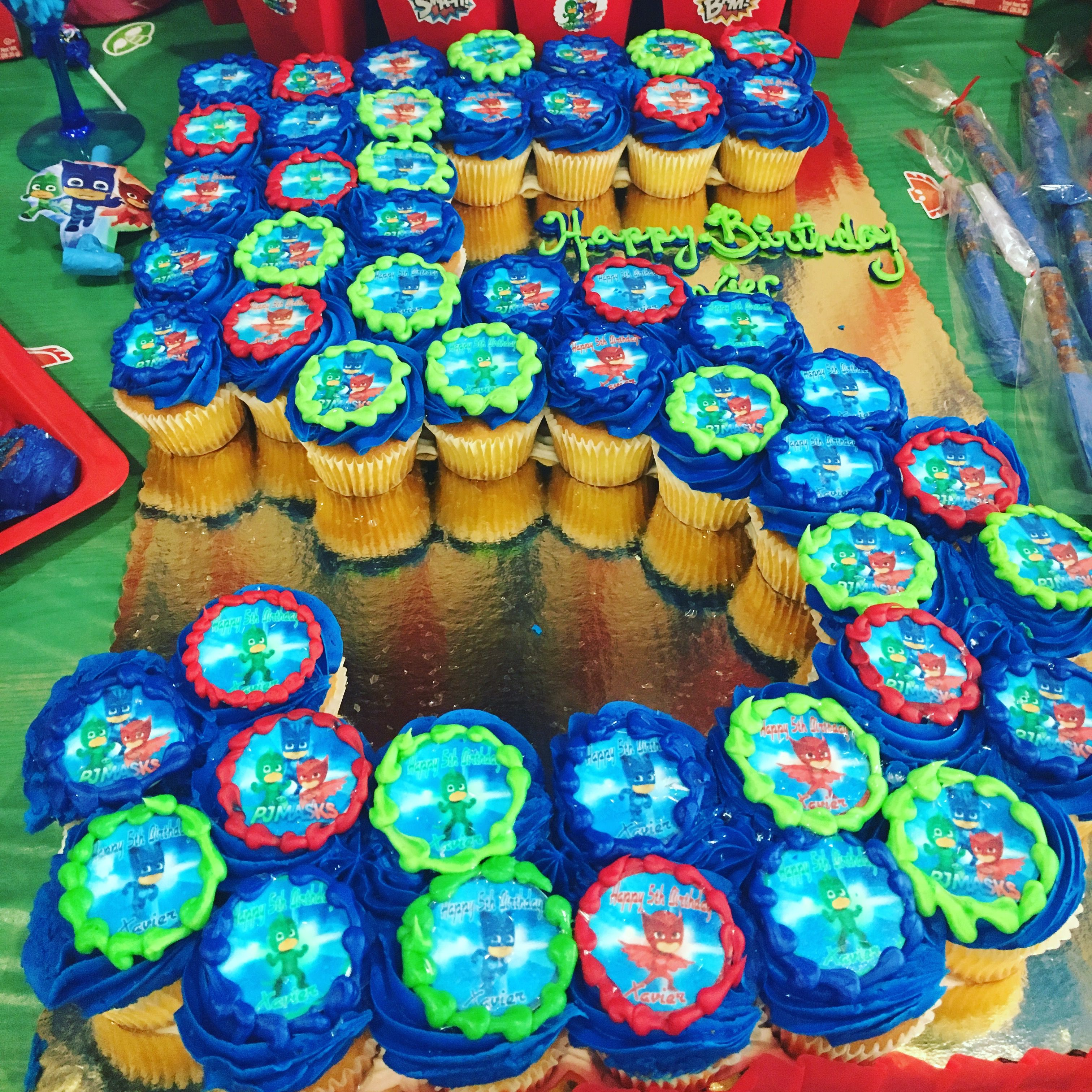 Themed Pj Masks Cupcakes With Images Pj Masks Birthday Party
