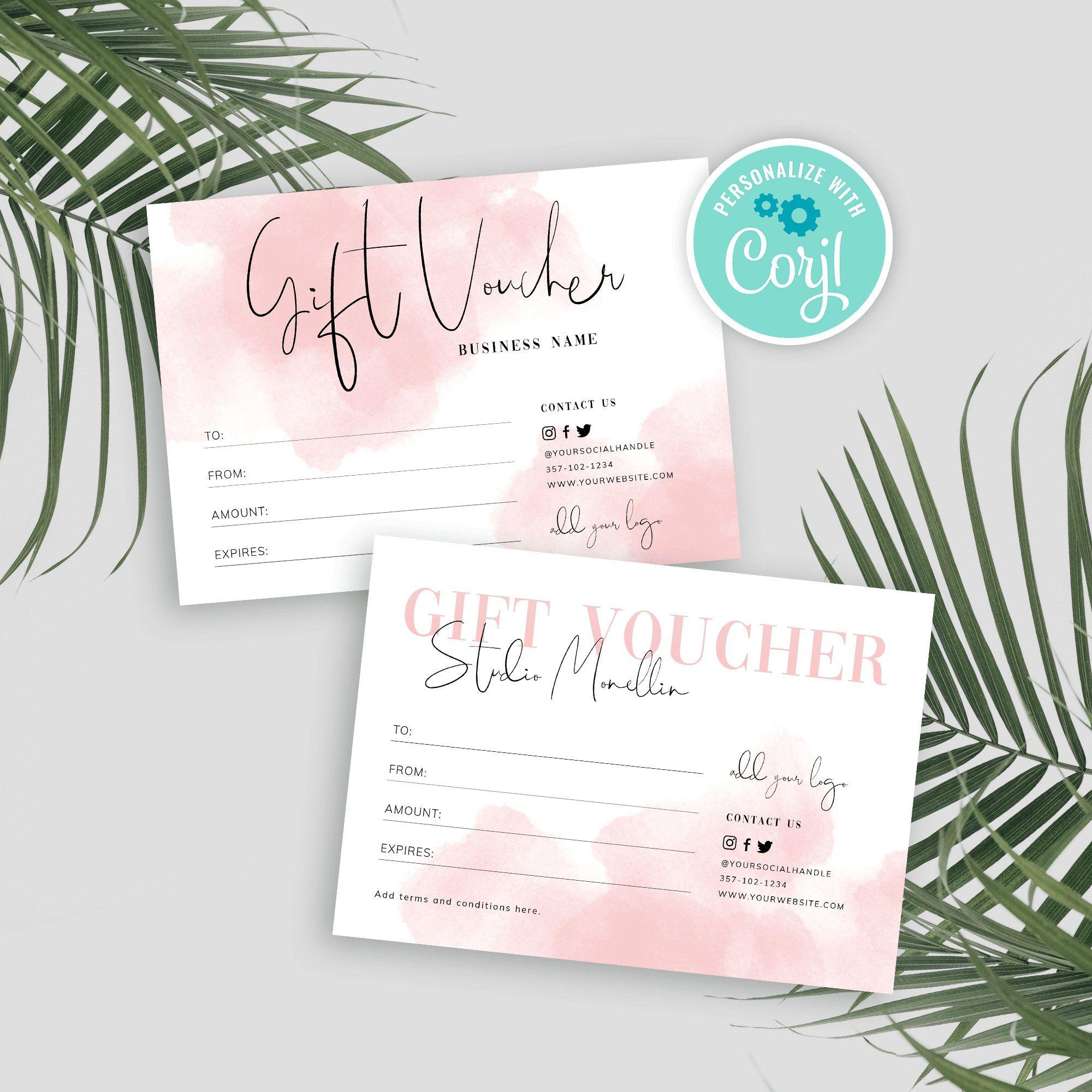 Printable Gift Voucher Design Editable Gift Certificate Etsy Salon Gift Card Certificate Design Template Gift Voucher Design