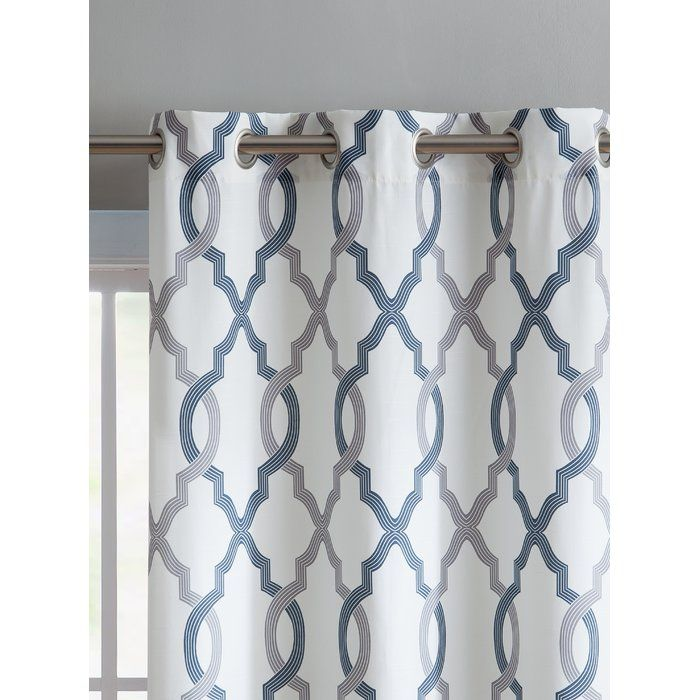 Torr Geometric Semi Sheer Grommet Curtain Panels Aqua Curtains