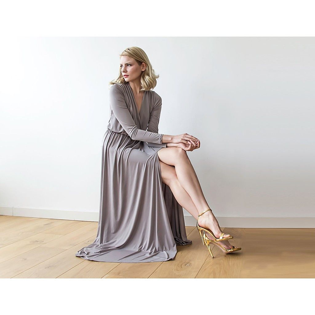 Taupe long sleeve maxi wrap dress with high slit maxis taupe and
